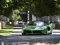 Ferrari LaFerrari Spider зеленого цвета на трассе